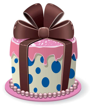 pink chocolate cake in a form of gift box with a bow Stock Vector - 17300448