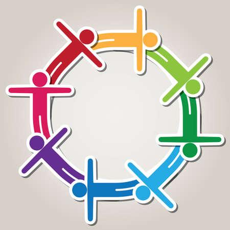 happy crowd: symbol of teamwork