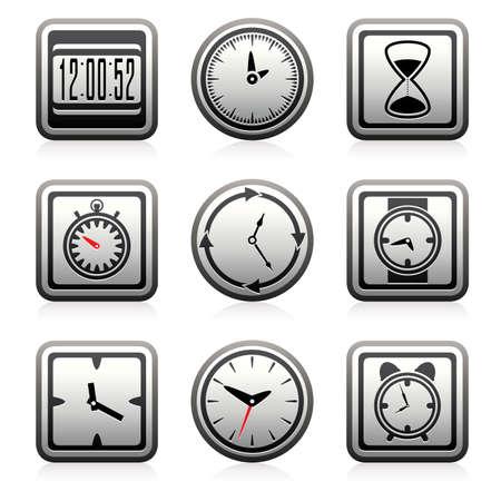 時計と時間のシンボルをベクトルします。