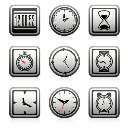 vector clock and time symbols Stock Vector - 17682353