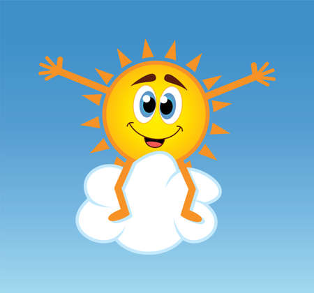 vector illustration of happy sun sitting over a cloud Vector