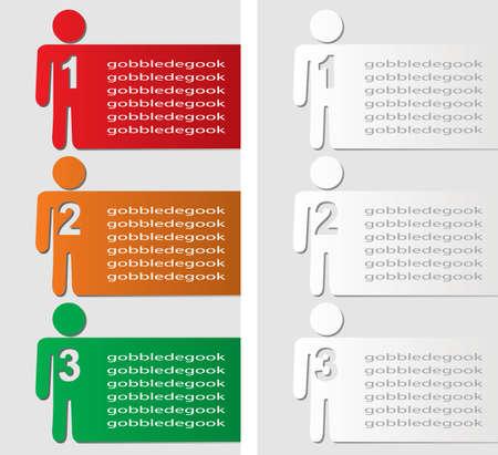 three orange: paper progress steps background Illustration