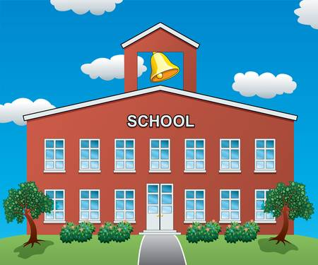 yellow house: illustration of a big school house  Illustration