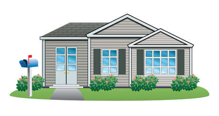 housing estate:  illustration of American house