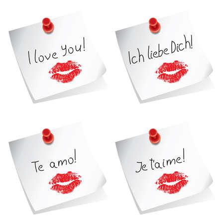donna spagnola: Note di carta con puntina e io amo le parole in inglese, tedesco, spagnolo e francese Vettoriali