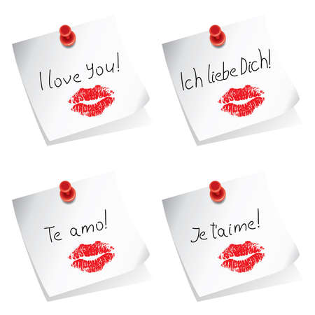 hot announcement:  paper notes with pushpin and I love you words in english, german, spanish and french
