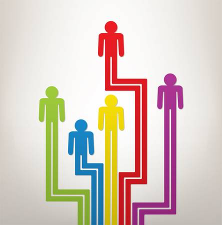 leadership abstract:  abstract concept of generation or leadership with colorful symbols of people