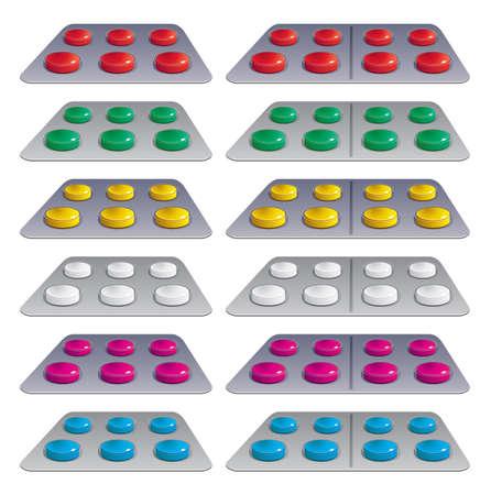 blister:  set of pills in blisters Illustration