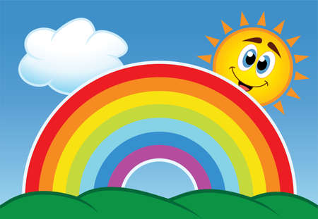 arc:  illustration of rainbow, cloud and happy sun in the sky  Illustration