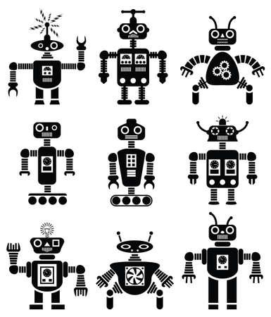機械ロボットの黒と白のセット