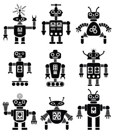 retro illustration:  set of black and white mechanical robots
