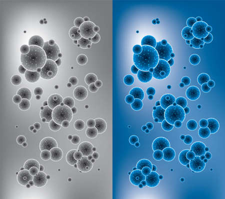 virus bacteria: vector abstract health or chemistry backgrounds with molecules or microbes