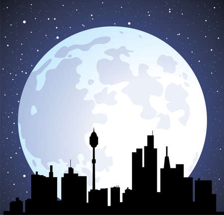 vector town background with building silhouettes and moon  Vector