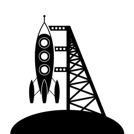booster: rocket and launching pad symbol