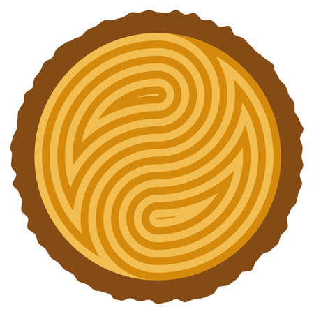 wooden log cut with rings forming yin and yang symbol Vector