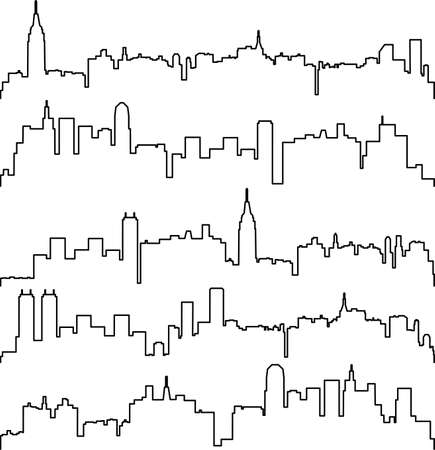 outline drawing: city contours of buildings