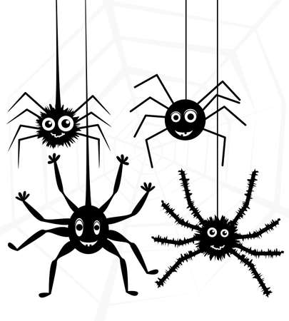 cartoon of spiders and web Vector