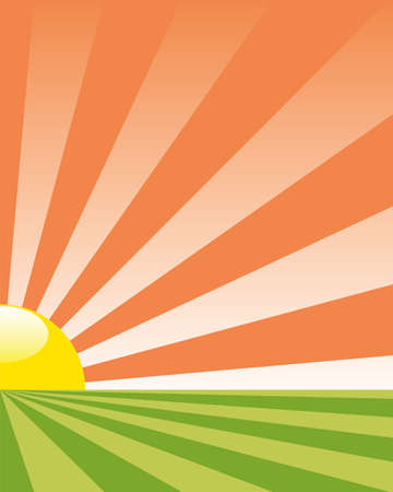 abstract agriculture background with rising sun