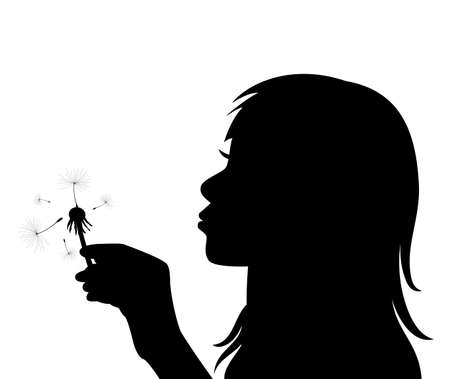 profile of a girl blowing the dandelion Vector