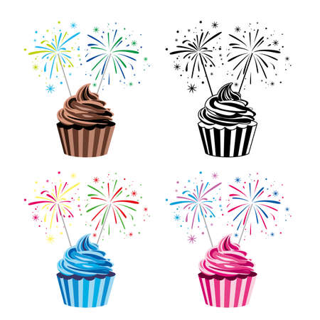 collection of colorful fruit and chocolate birthday cupcakes with burning sparklers Vector