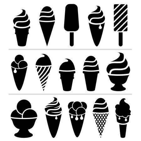 helados con palito: iconos de helado en blanco y negro