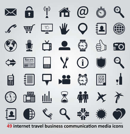 set of icons for internet, travel, business, communication and media Vector