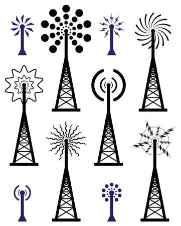 radio tower: design of radio tower and wave broadcast symbols and icons Illustration