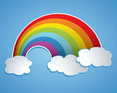 cartoon of rainbow and clouds in the sky