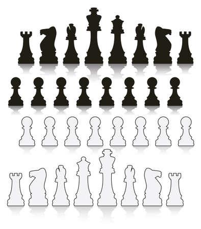 chess knight: conjunto de s�mbolos de ajedrez en blanco y negro Vectores