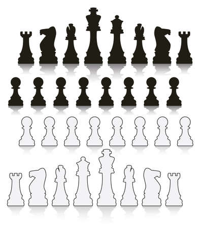 chess rook: set of black and white chess symbols