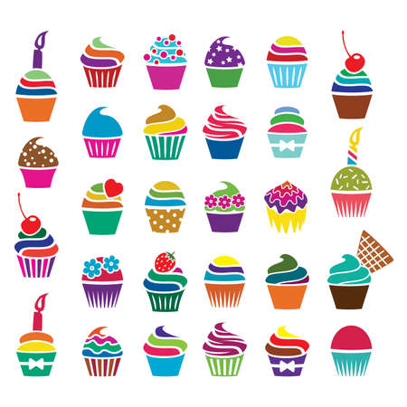 colorful cupcakes icons Çizim