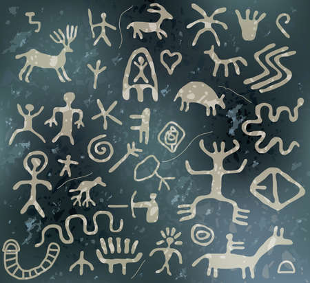pintura rupestre: modelo de la roca cueva con antiguos jeroglíficos