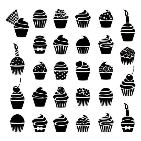 vector zwarte en witte cupcakes pictogrammen