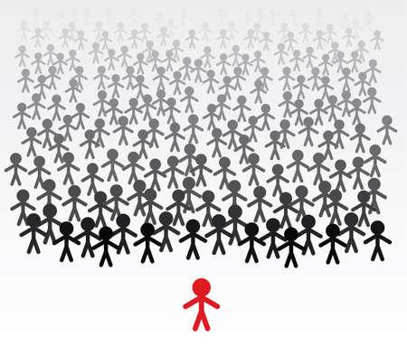 teamleider: vector zaken illustratie van een team van mannen en hun leider Stock Illustratie