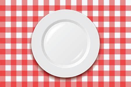 벡터 빨간색 피크닉 요리 식탁보와 빈 접시 일러스트