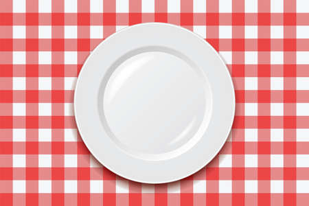 picnic blanket: vector red picnic cooking tablecloth and empty plate