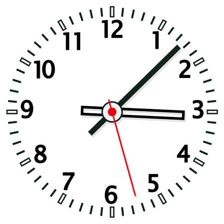 round face: illustration of clock face Illustration