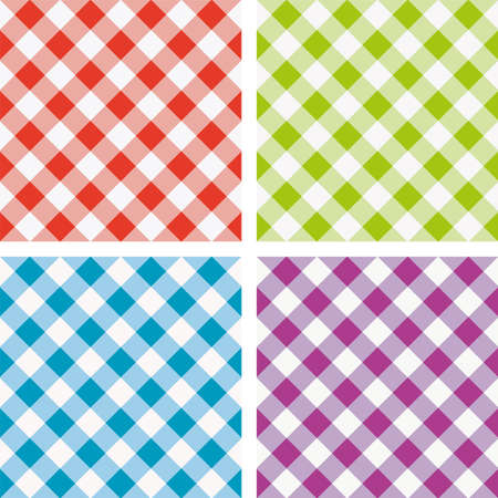 set of colorful picnic cooking tablecloth Vector