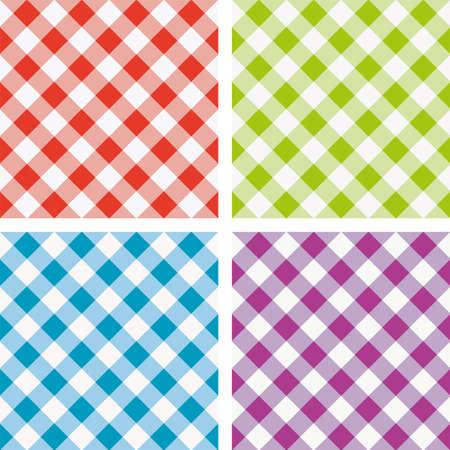 set van kleurrijke picknick koken tafelkleed Stock Illustratie