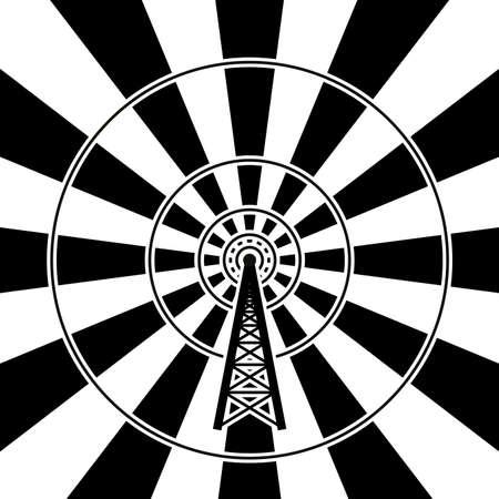 illustration of radio tower broadcast