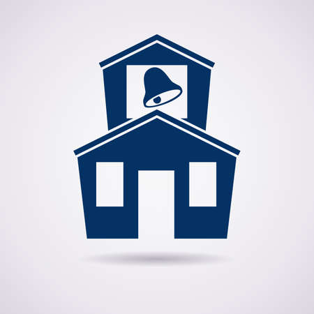 home school: icon of school building Illustration