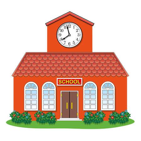 illustratie van land schoolgebouw Stock Illustratie