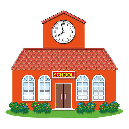 illustration of country school building Illustration