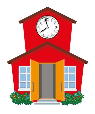 illustration of country school building Stock Illustratie
