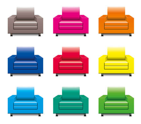 vector colorful armchair set Vector
