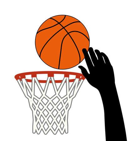 ballon basketball: symbole de vecteur de tir chanceux de boule de basket-ball � travers un cerceau Illustration