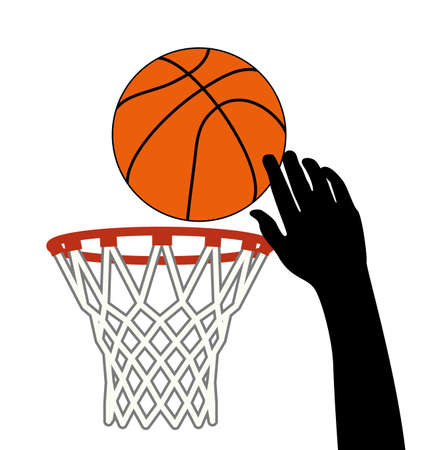 basketball dunk: vector symbol of lucky shot of basketball ball through a hoop