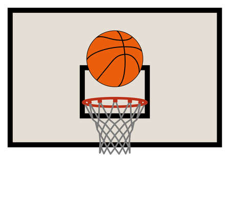 backboard: vector illustration of basketball net and backboard set Illustration