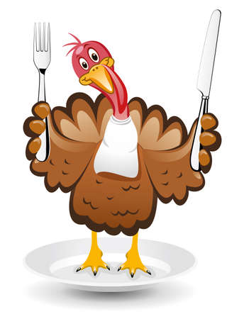 white napkin: vector turkey clipart for thanksgiving day  Illustration