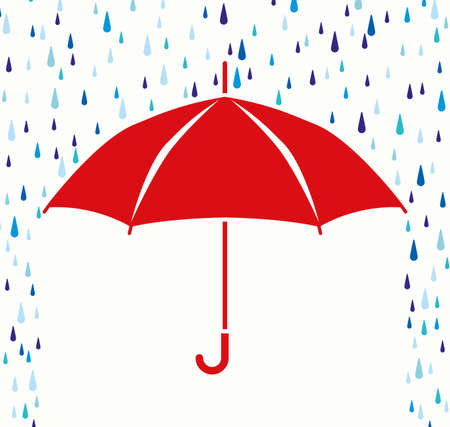 비 방울에서 우산 보호의 벡터 기호 일러스트